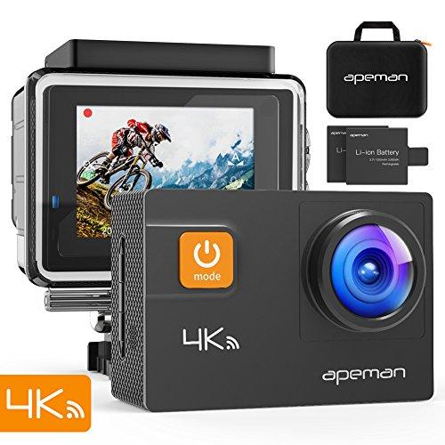 APEMAN Caméra Sport 4K Ultra HD Wi-FI 20MP Caméra d'action Étanche 40M 170°Grand-Angle 2 Pouces LCD avec 2 Batteries et Inclut 24 Kits Complets d'Accessoires