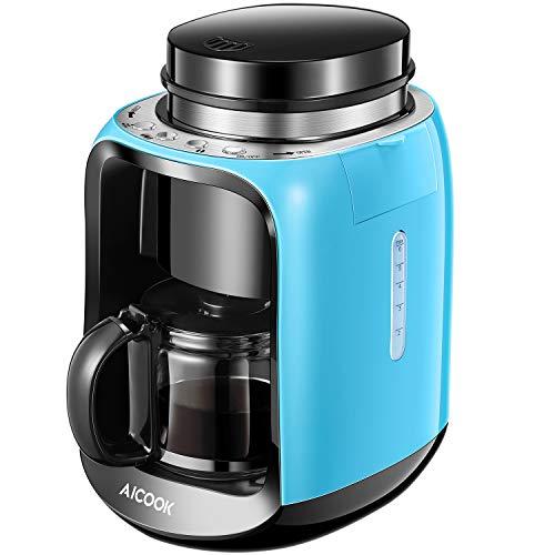 Aicook Cafetière, Machine à Café avec Broyeur, Cafetière Grains et Cafetière Automatique 2-in-1 pour 2-6 Tasses de Cafetière Filtre avec Pot en Verre, Bleu