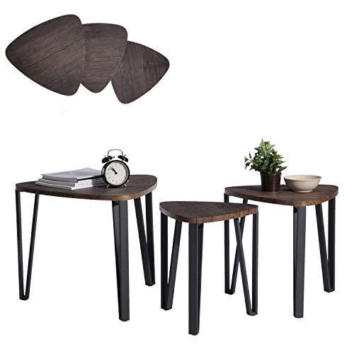 Aingoo Lot de 3 Tables Basses Café Tables Gigognes en MDF Table D'extrémité avec Pied en Métal, Marron Foncé