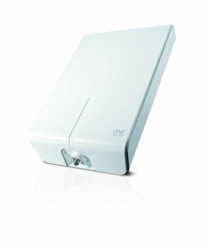 Antenne Full HDTV extérieure amplifiée de One For All avec d'Excellente Performance pour DVB-T TNT Numérique et Analogique TV Signaux – à 50km Range – Installation aisée avec 10 mt. Câble Coaxial  -VHF/UHF – Blanche – SV9455