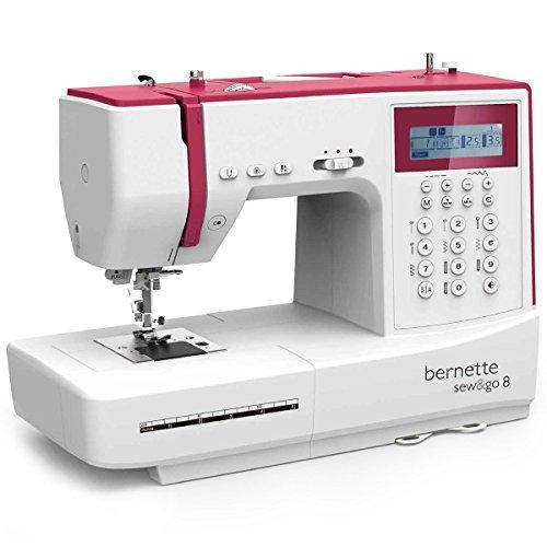 Bernina Bernette Sew & Go 8 – Machine à coudre avec pédale, 197 points différents et programmes de couture (points utiles, points élastiques, points décoratifs), Écran LCD et régulateur de vitesse
