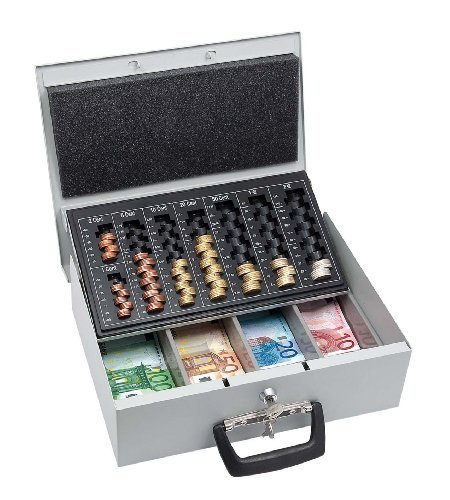 CASSETTE de comptage d'argent Universa, avec deux poignées, 35,5 x 27,5 x 10 cm
