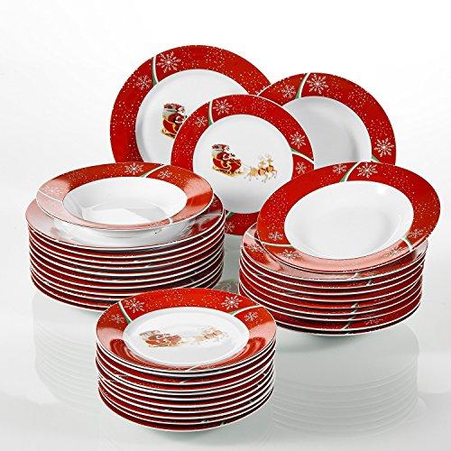 CHRISTMASDEER, 36 Pièces Plates, en Porcelaine, 12 Assiettes Plates, 12 Assiettes Creuses, 12 Assiettes à Dessert