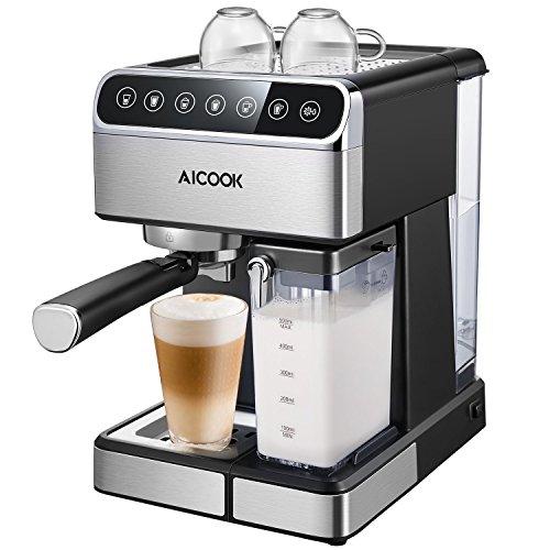 Cafetiere Aicook, Cafetiere automatique et Cafetiere expresso avec écran numérique et Cappuccinatore, 15 bar multifonctions pour Cappuccino et Latte