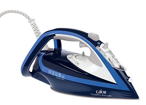 Calor FV5630C0 Fer à Repasser Vapeur Turbopro Anti-Calc Turbo Boost Effet Pressing jusqu'à 200g/min Collecteur de Calcaire 2600W Bleu