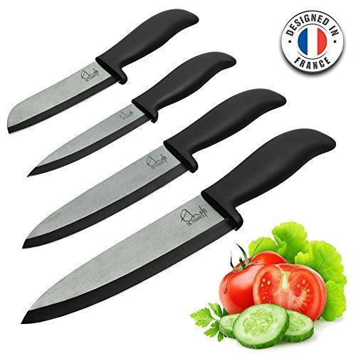 ChefsDeFrance – Set de 4 Couteaux Céramique – Édition Prestige Couteaux Haut de Gamme + 1 Livre de Cuisine Offert – Couteau de Chef