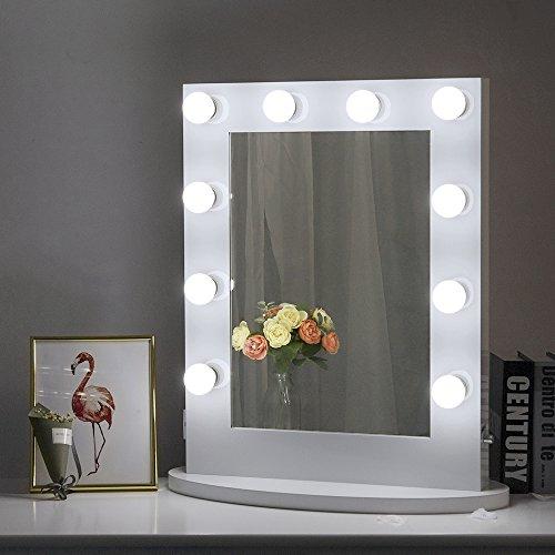 Chende Grand Miroir de Courtoisie Eclairé Miroir Maquillage avec Lumière LED, Miroir Lumineux vanité, Miroir Mural Monté, Gratuitement LED Dimmable Ampoules Cadeau (H65 x L50 cm)