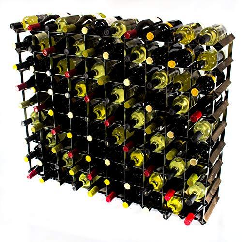 Cranville wine racks Bidon Classique en chêne foncé avec 90 Bouteilles et étagère en métal galvanisé à Monter soi-même
