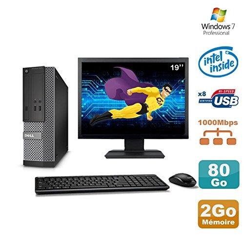 Dell Lot PC Optiplex 3020 SFF Intel G3220 3GHz 2Go 80Go DVD W7 + Ecran 19″ (Reconditionné Certifié Grade A)