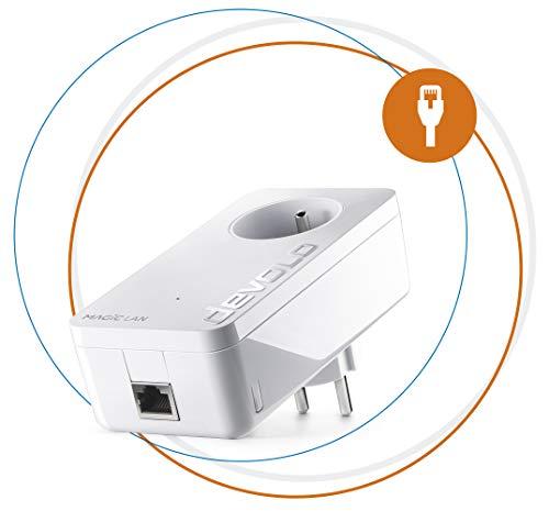 Devolo Magic 1 LAN: adaptateur CPL ultra-puissant jusqu'à 1200 Mbits/s, avec prise de courant intégrée, pour un Internet magique via la prise de courant