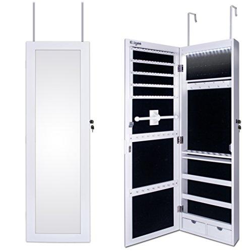 Ezigoo Armoire à Bijoux – Montage sur porte/Armoire à Bijoux Murale avec Lumière LED 110 x 31.5 x 8.5 cm