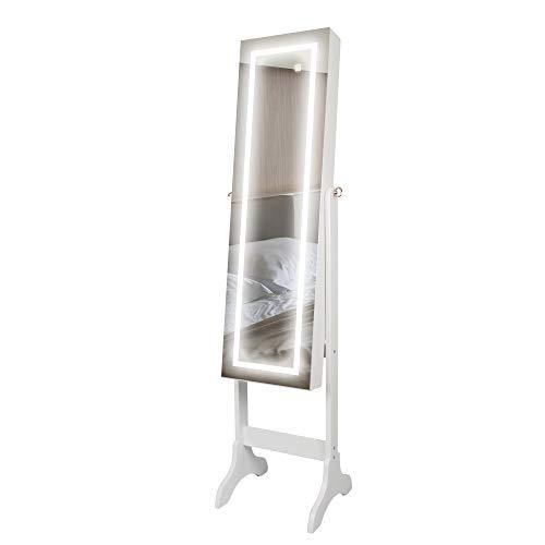 Ezigoo Armoire à Bijoux avec éclairage à écran Tactile LED – Armoire à Bijoux avec Miroir sur Toute la Longueur