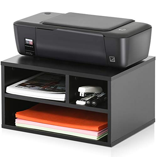 FITUEYES Wood 2-Tier Black Printer/Fax Stands Workspace Organizers,DO204701WB
