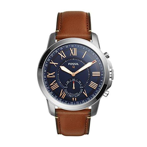 FOSSIL Q Grant / Smartwatch hybride homme sport – Cadran acier et bracelet en cuir brun – Compatibilité iOS et Android – Boîte et pile incluses