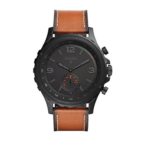 FOSSIL Q Nate / Montre connectée hybride pour homme – Smartwatch sport en cuir marron – Compatibilité iOS & Android – Boîte et pile incluses