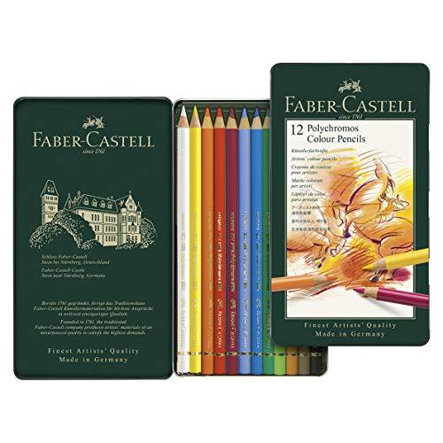 Faber-Castell – Crayons de couleur pour artistes 110012 – Polychrome, 12 crayons, boîte en métal