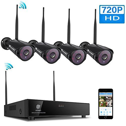 (H.264+) Kit caméras de Surveillance sans Fil, avec 4 caméras 1080P&720P WiFi intérieur et extérieur
