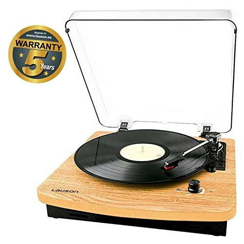 Lauson CL608 Platine Vinyle Bluetooth | 33/45/78 RPM | USB | RCA | Haut-parleurs Intégrés | Tourne Disque en Bois Vintage | Vinyle à MP3 Codage Fonction | Brun