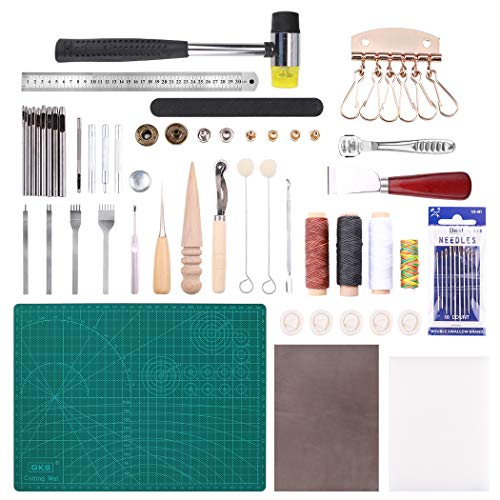 Malayas® 24Pcs Kit Outils Cuir Outil de Bricolage Kit Couture Sculpture DIY Artisanat Maroquinerie Poinçon Outillage Leather Craft Punch Tools Kit Stitching Carving Working Sewing Saddle Groover