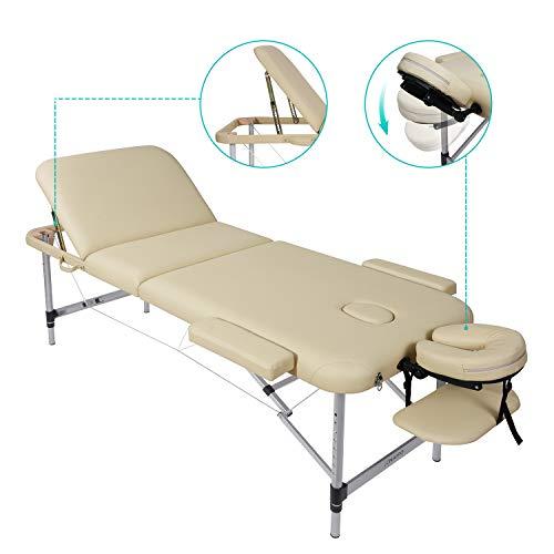 Naipo Tables de Massage Lit Cosmétique Pliante Aluminium Professionnel Portable Ergonomique Table Canapé Thérapie Haute Qualité Ultra Solide Léger Confort
