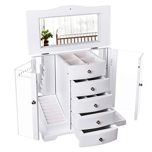 SONGMICS Boîte à Bijoux en Bois Grande capacité Porte Transparent en Acrylique, 4 tiroirs, Couleur Blanche, Style champêtre, JBC57W