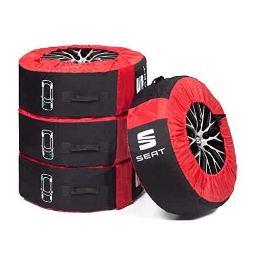Seat 000071770C Sac de Protection Complet pour pneus (jusqu'à 18″) Noir/Rouge