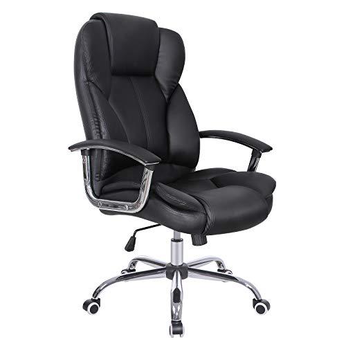 Songmics Fauteuil de bureau avec dossier haut Large Assise et fonction d'inclinaison pivotant Executive Chaise de bureau PU
