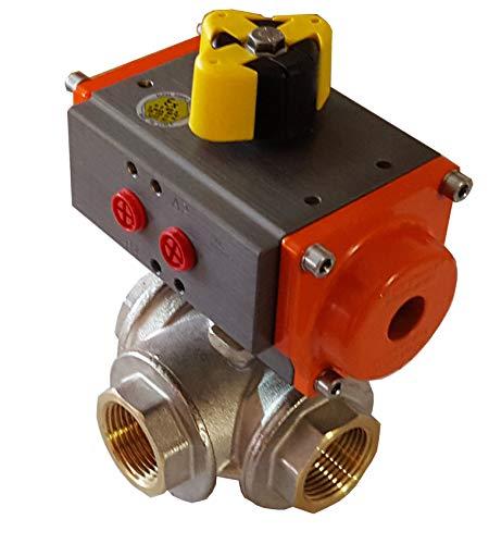 Válvula 3/4 3/2 vías en L con actuador rotativo neumático