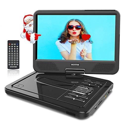 WONNIE 12.5″ Lecteur DVD Portable avec écran Rotatif de 10,5″ à 270°, Carte SD et Prise USB avec Charge directe Formats/RMVB / AVI / MP3 / JPEG, Parfait pour Enfants (Noir)