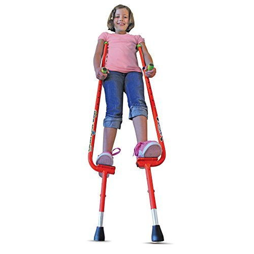 Walkaroo Xtreme Steel Balance Stilts with Height Adjustable Vert Lifters by Air Kicks, Red by GeoSpace