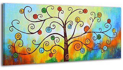 YS-Art Tableau Peinture Acrylique Vallée des fleurs| Peint à la main | 115x50cm | Tableau | Art Moderne|Unique| Bleu